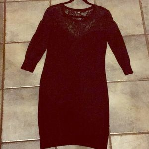 H&M black sweater dress with lace